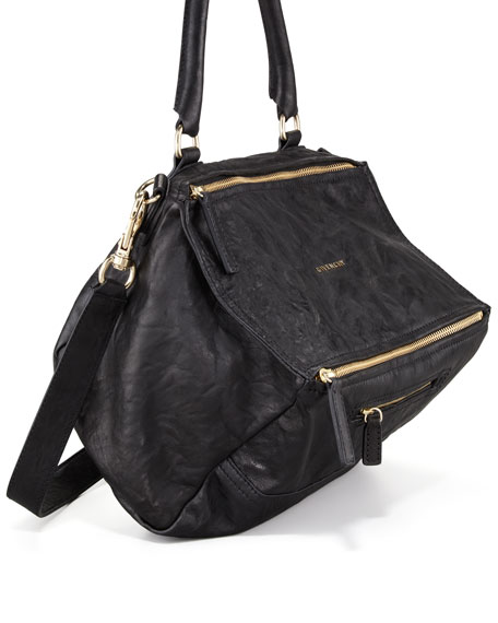 Givenchy Pandora Medium Leather Satchel Bag Black