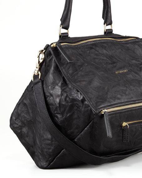 Pandora Large Leather Satchel Bag, Black