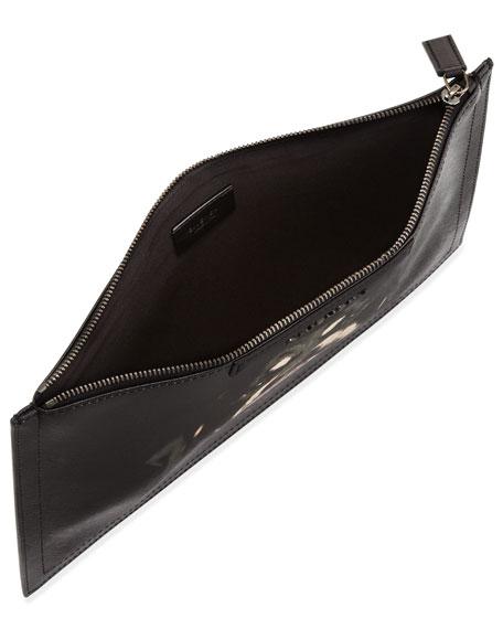 Zip Medium Leather Pouch, Multi