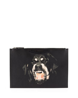 Givenchy Antigona Rottweiler-Print Coated Canvas Zip Pouch