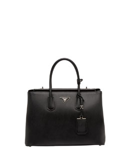 Prada Saffiano Cuir Twin Bag, Black (Nero)