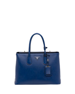 Prada Saffiano Cuir Twin Bag, Blue (Bluette)