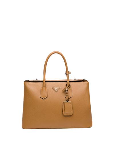 Prada Saffiano Cuir Twin Bag, Camel (Caramello)