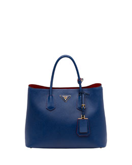 Prada Saffiano Cuir Double Bag, Blue (Bluette)