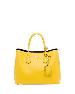 Prada Saffiano Cuir Double Bag, Yellow