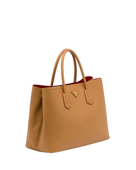 red prada bag leather - Prada Saffiano Cuir Small Double Bag, Camel (Caramel)