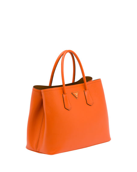 Saffiano Cuir Double Bag, Orange (Papaya)