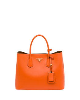 Prada Saffiano Cuir Double Bag, Orange (Papaya)