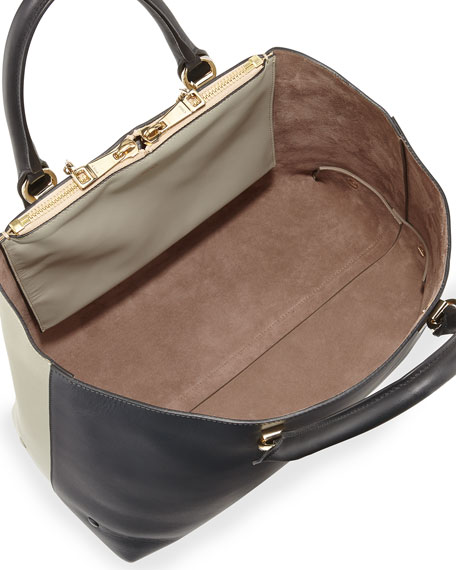 Baylee Bicolor Tote Bag, Gray/Black