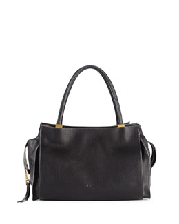 Chloe Dree East-West Leather Satchel Bag, Black