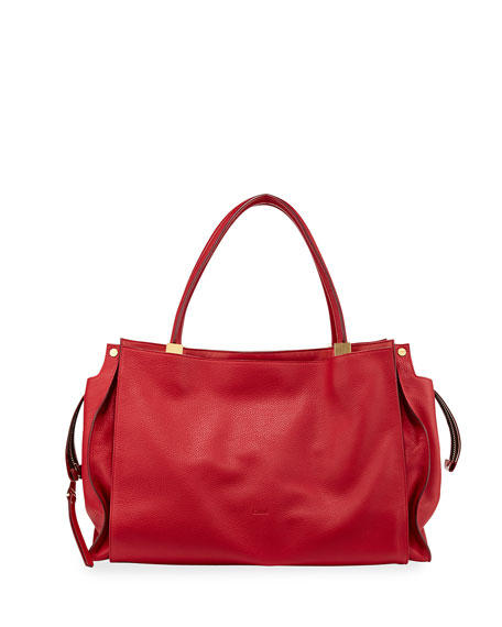 Dree East-West Leather Satchel Bag, Red