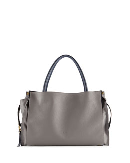Chloe Dree East-West Leather Satchel Bag, Dark Gray