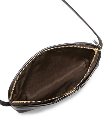 Multi-Pouch Leather Crossbody Bag, Black/Dark Brown