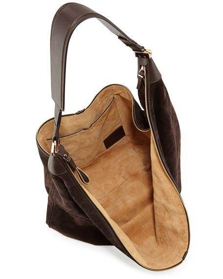 THE ROW Sling 15 Suede Hobo Bag, Dark Brown