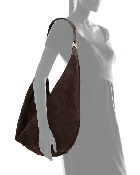 THE ROW Sling 15 Suede Hobo Bag, Dark Brown