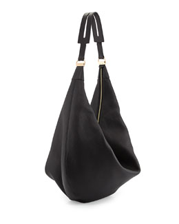 THE ROW Sling 15 Grained Leather Hobo Bag, Black