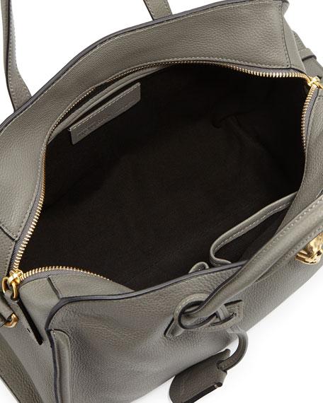 Skull Padlock Zip-Around Satchel Bag, Dark Gray