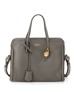 Alexander McQueen Skull Padlock Zip-Around Satchel Bag, Dark Gray