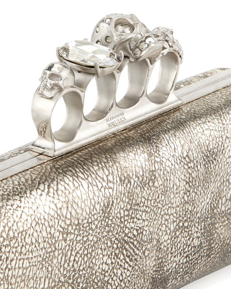 Tarnish Napa Long Knuckle Box Clutch Bag, Silver