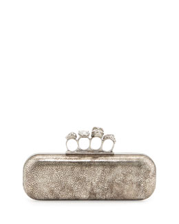 Alexander McQueen Tarnish Napa Long Knuckle Box Clutch Bag, Silver