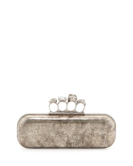 Tarnish Napa Long Knuckle Box Clutch Bag, Silver