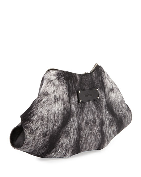 De-Manta Fur-Print Clutch Bag, Black/Gray