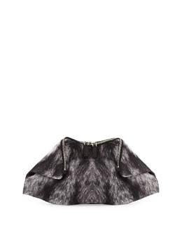 Alexander McQueen De-Manta Fur-Print Clutch Bag, Black/Gray