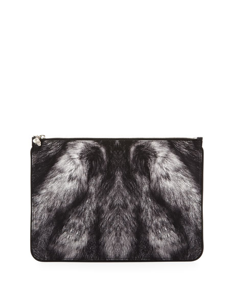 Large Fur-Print Skull Zip Pouch, Gray/Black