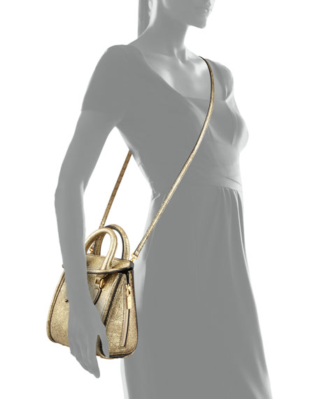 Heroine Mini Metallic Satchel Bag, Golden