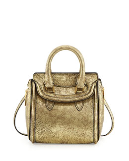 Alexander McQueen Heroine Mini Metallic Satchel Bag, Gold