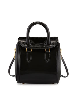 Alexander McQueen Heroine Mini Patent Satchel Bag, Black