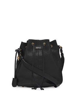 Alexander McQueen Padlock Leather Bucket Bag, Black