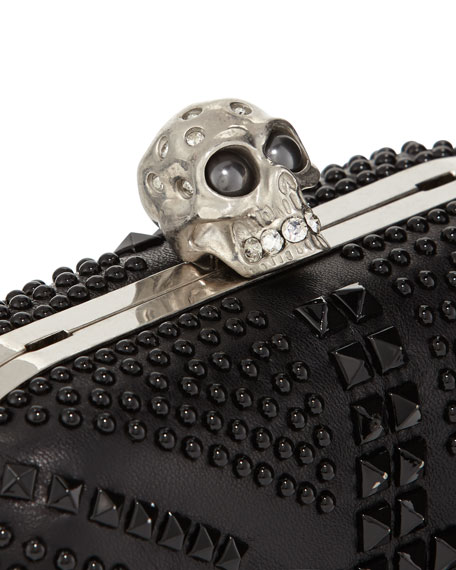 Britannia Skull-Clasp Studded Clutch Bag, Black