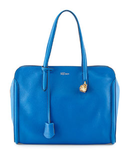 Alexander McQueen Skull Padlock Zip-Around Tote Bag, Cobalt Blue
