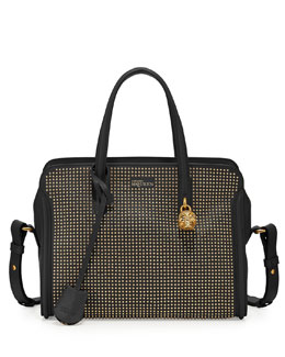 Alexander McQueen Micro-Stud Padlock Zip-Around Satchel, Black