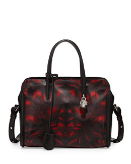 Alexander McQueen Tulip-Print Padlock Zip-Around Satchel Bag, Black/Red