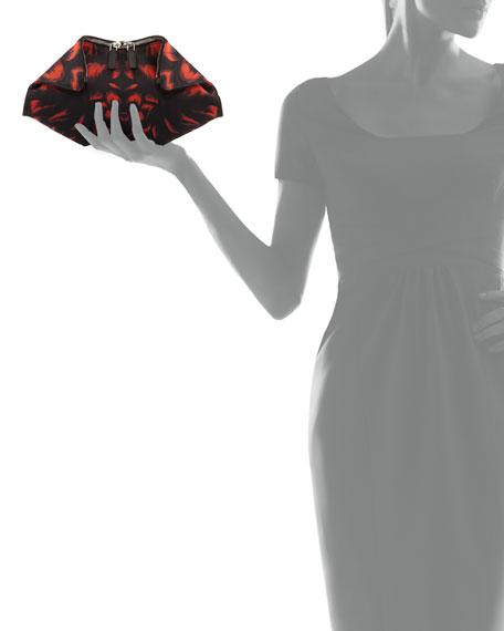 Small Tulip-Print De-Manta Clutch Bag, Red/Black
