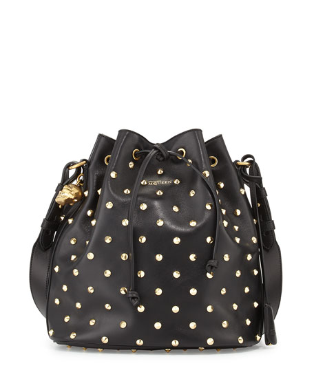 Padlock Studded Leather Bucket Bag, Black