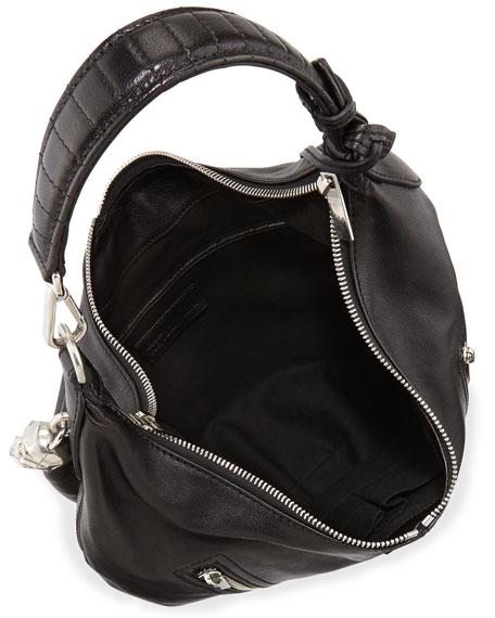 Padlock Small Biker Hobo Bag, Black