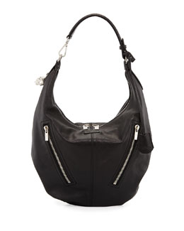 Alexander McQueen Padlock Small Biker Hobo Bag, Black