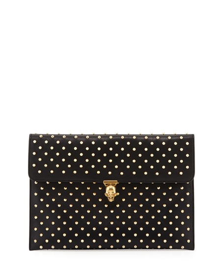 Studded Skull Envelope Clutch Bag, Black