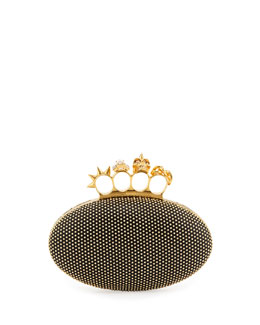 Alexander McQueen Studded Oval Knuckle Clutch Bag, Black