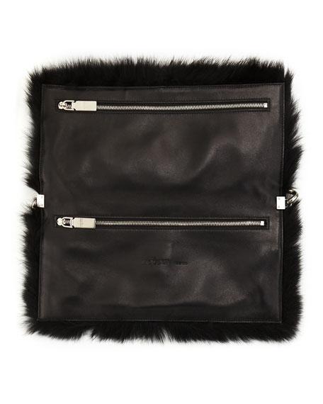 Folded Fur Clutch Bag, Black