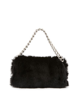 Alexander McQueen Folded Fur Clutch Bag, Black