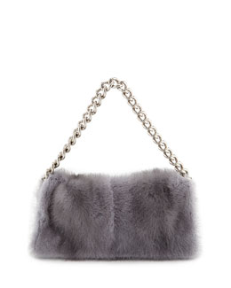 Alexander McQueen Folded Fur Clutch Bag, Gray