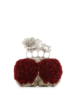 Alexander McQueen Beaded Flower Knuckle Box Clutch Bag