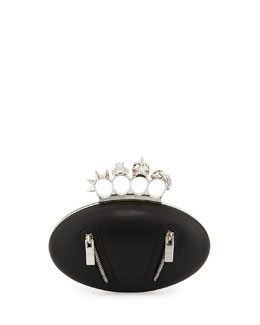 Alexander McQueen Biker Oval Knuckle Clutch Bag, Black