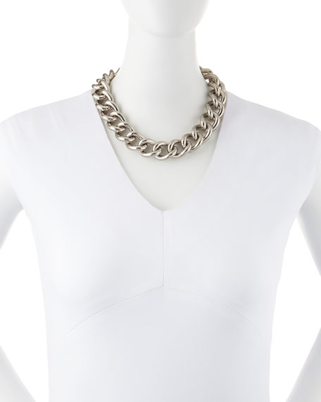 Silvertone Chain Choker Necklace