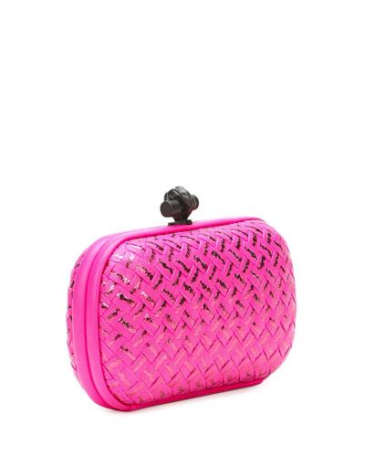 bottega veneta woven metallic knot clutch bag  hot pink