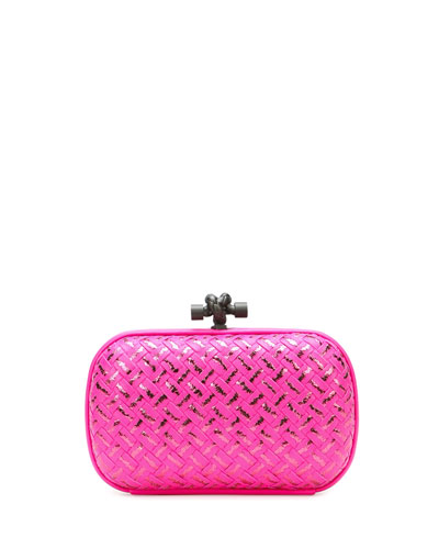 Woven Metallic Knot Clutch Bag, Hot Pink